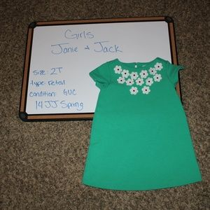 GUC Janie and Jack green floral dress 2T